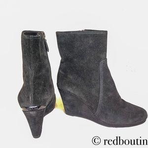 Prada black suede wedge boots ankle booties